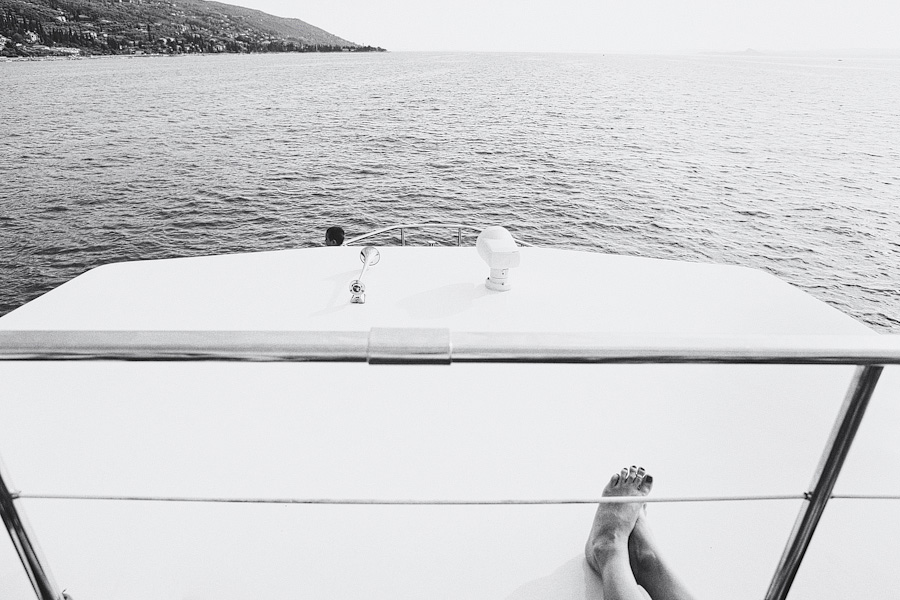 relaxing on a boat