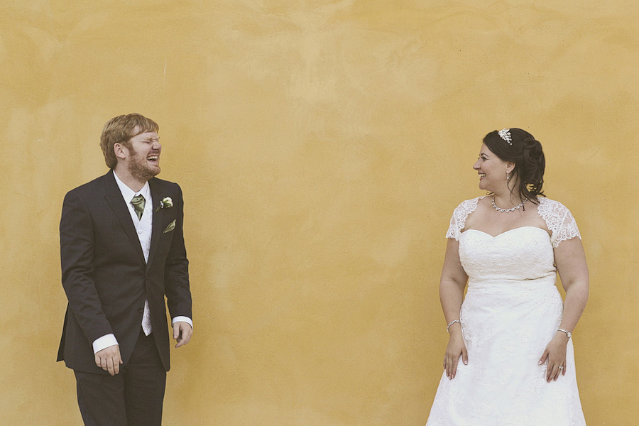 laughing on a yellow background