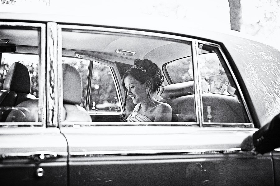 Bride arrives in wedding car outside St-Laurence-Church-Scalby-1