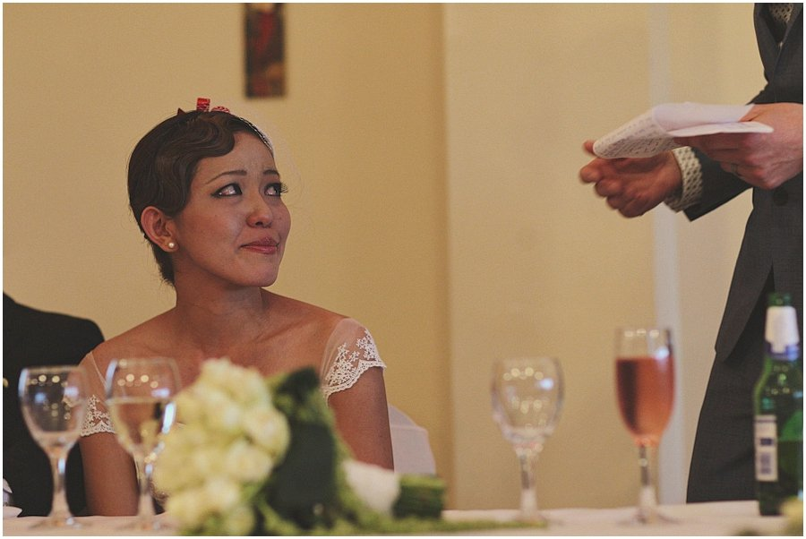 Emotional bride during the speeches