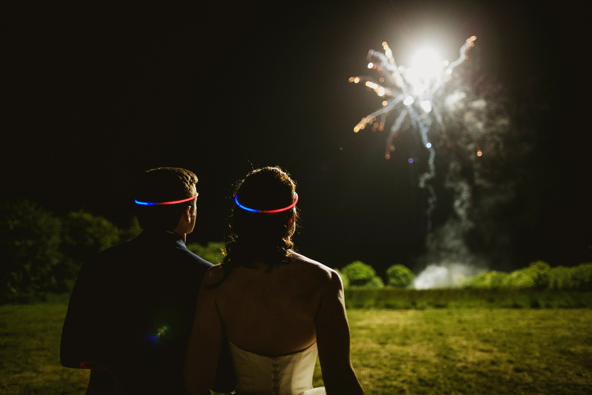 Glowstick Fireworks Wedding Photograph