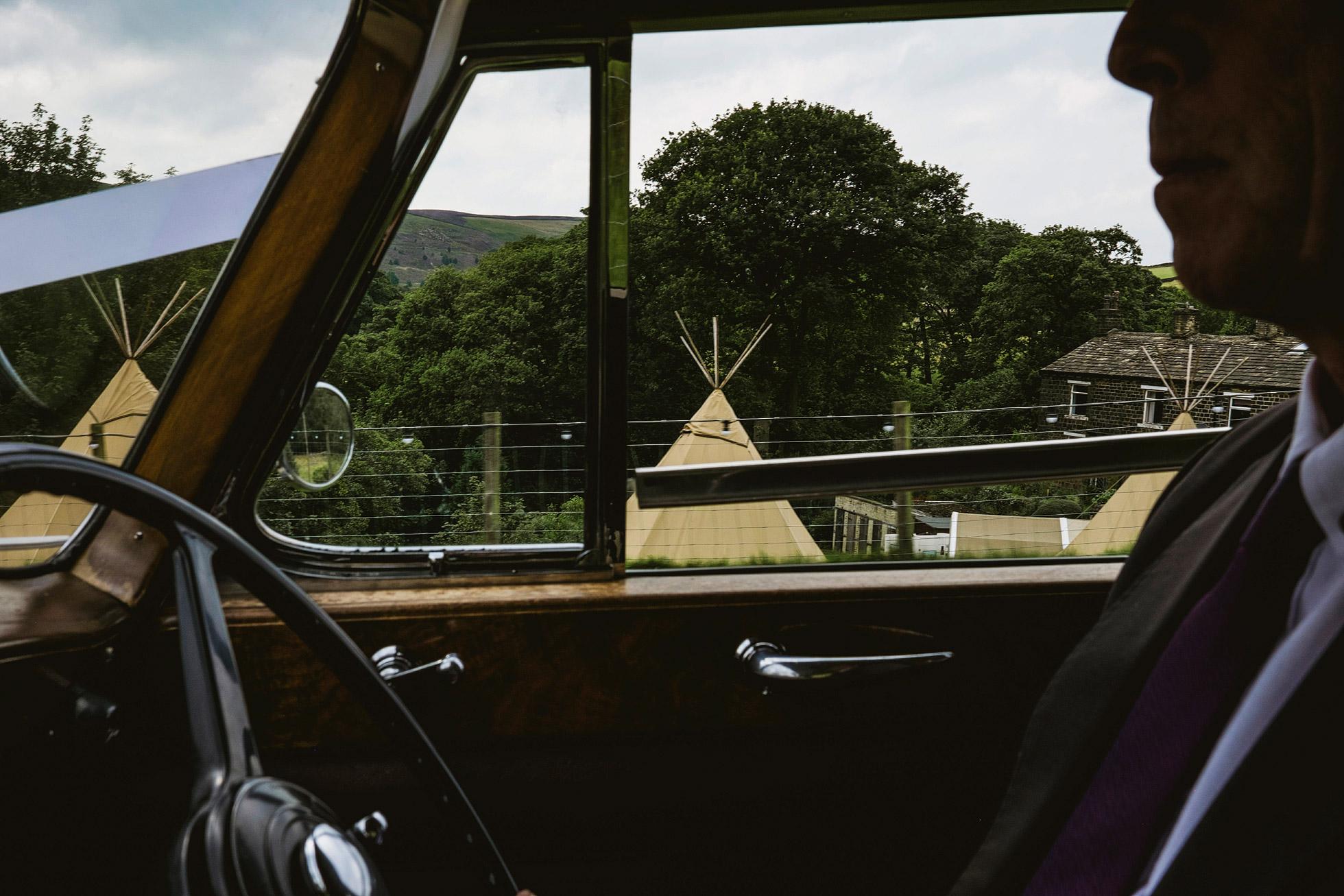 Inside the Wedding car
