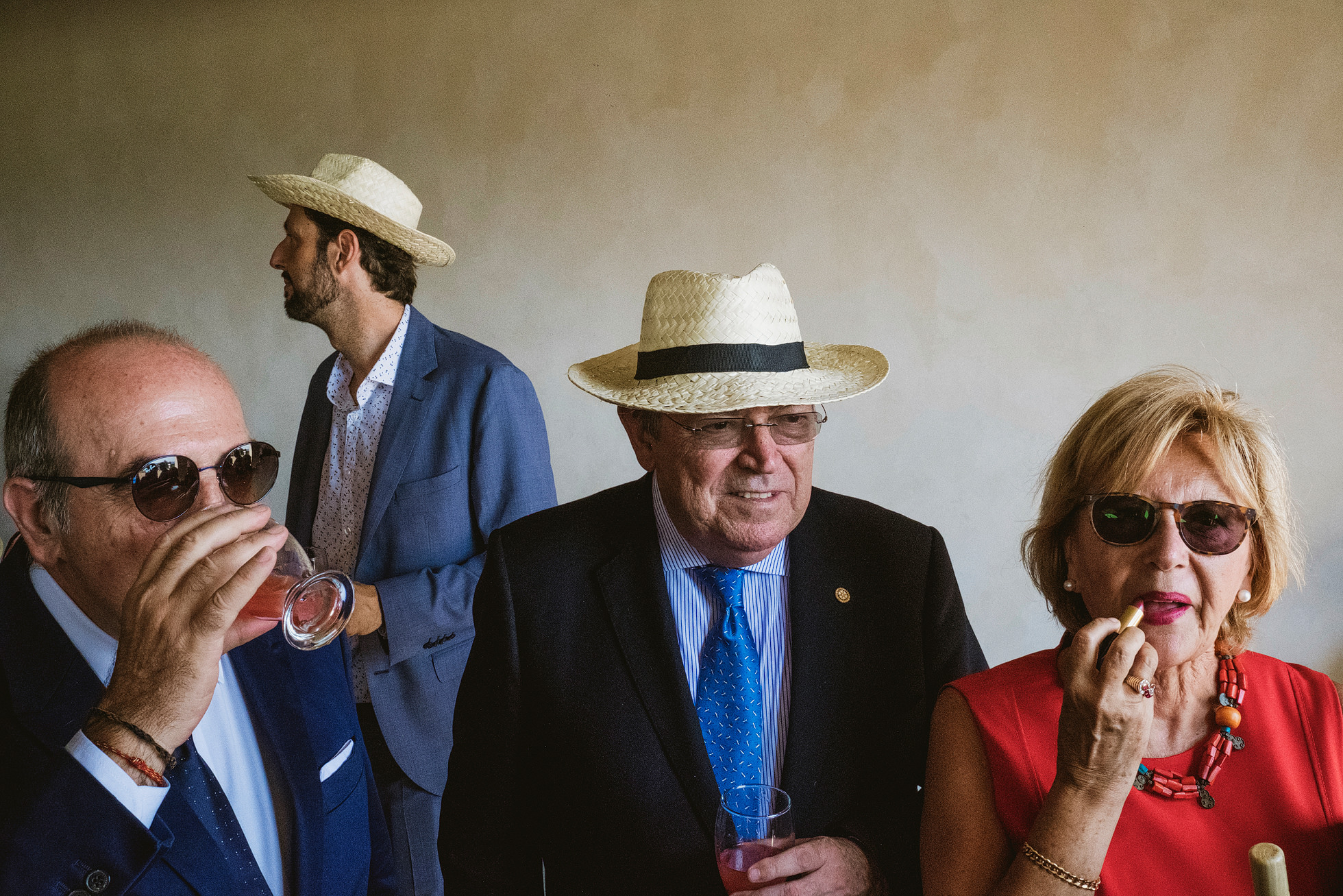 Photograph of Wedding Guests in straw hats at Krakow wedding