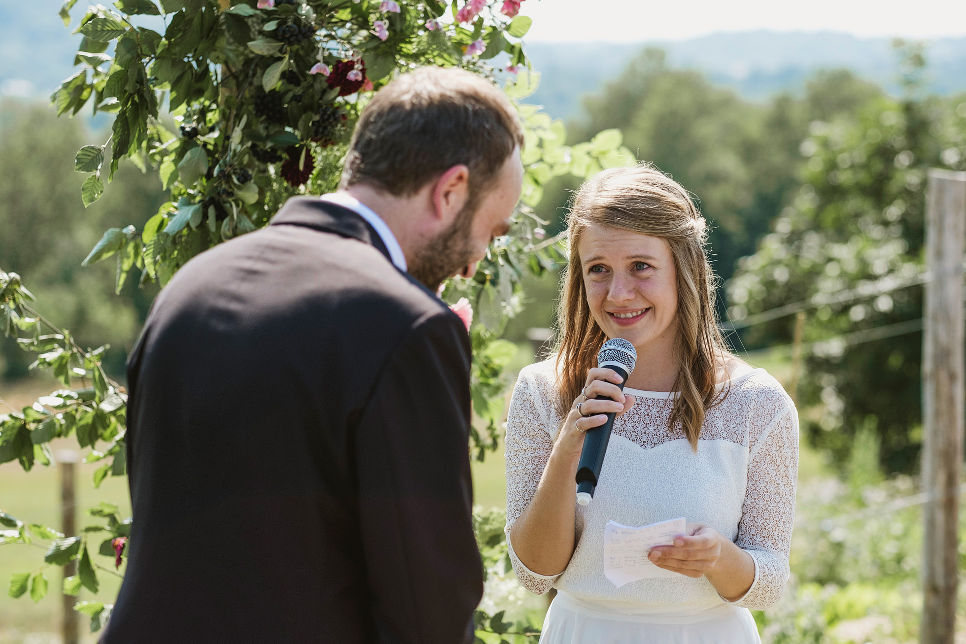 Bride and groom emotional vows