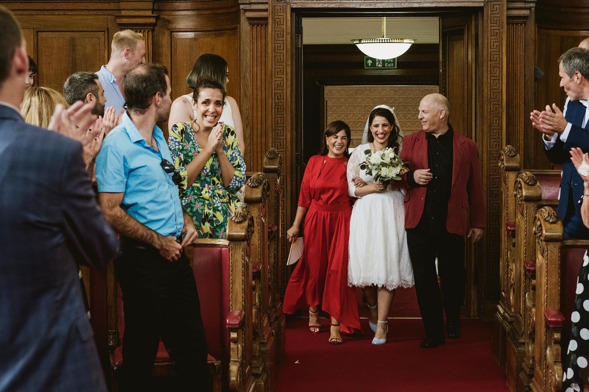 Bride entrance Islington Town Hall wedding photograph