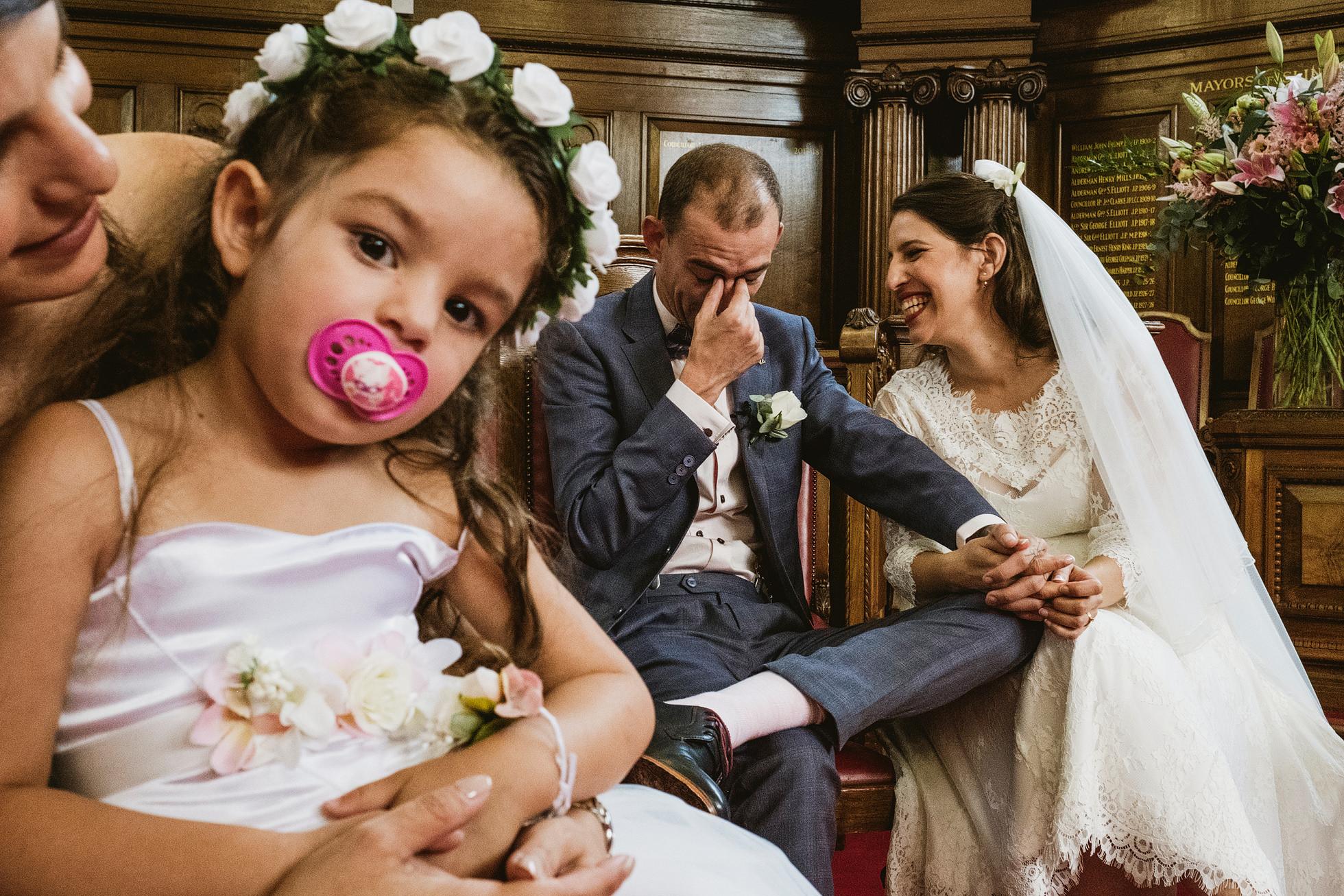 Street-style wedding photography Islington Town Hall
