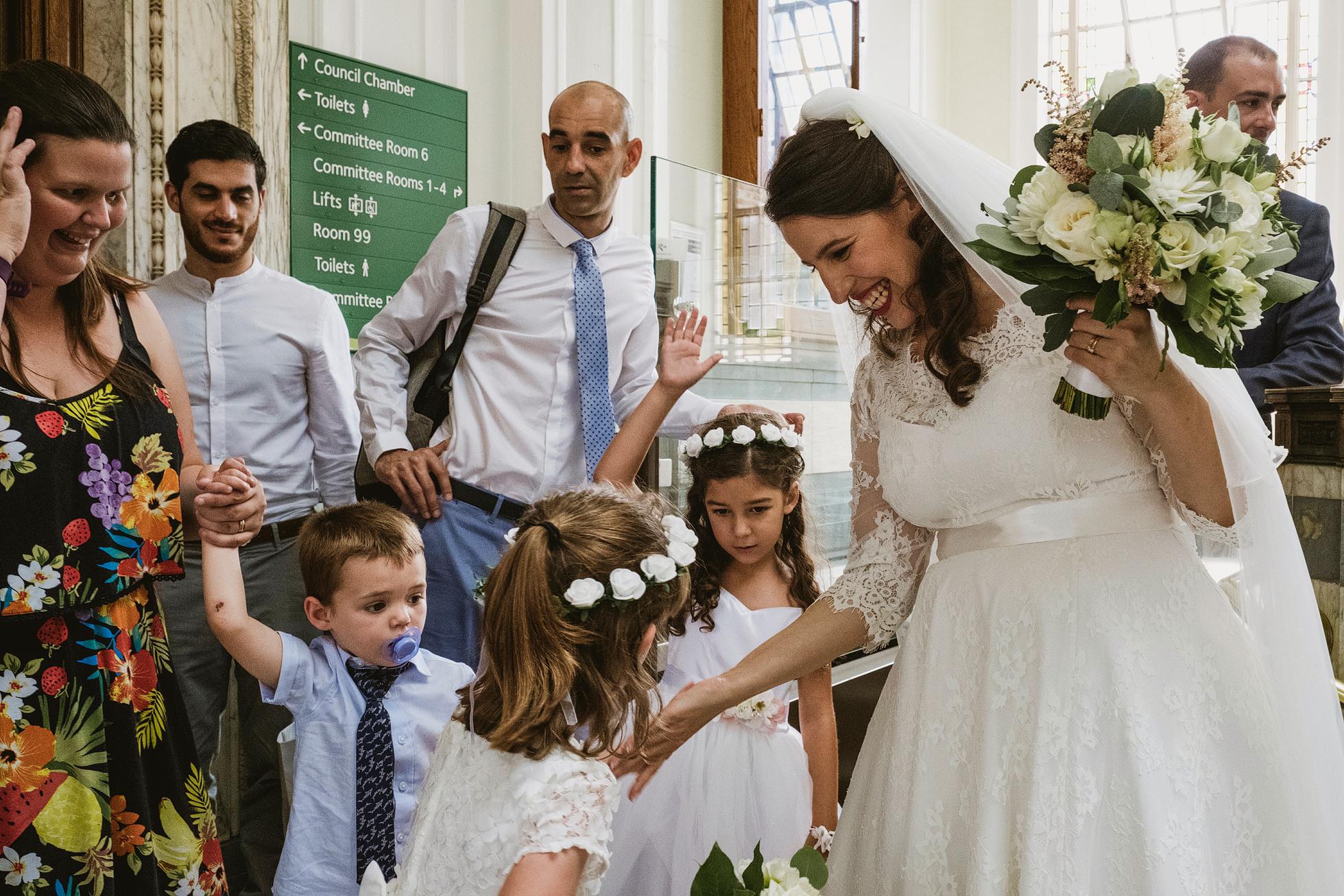 Wedding guests at Islington Town Hall