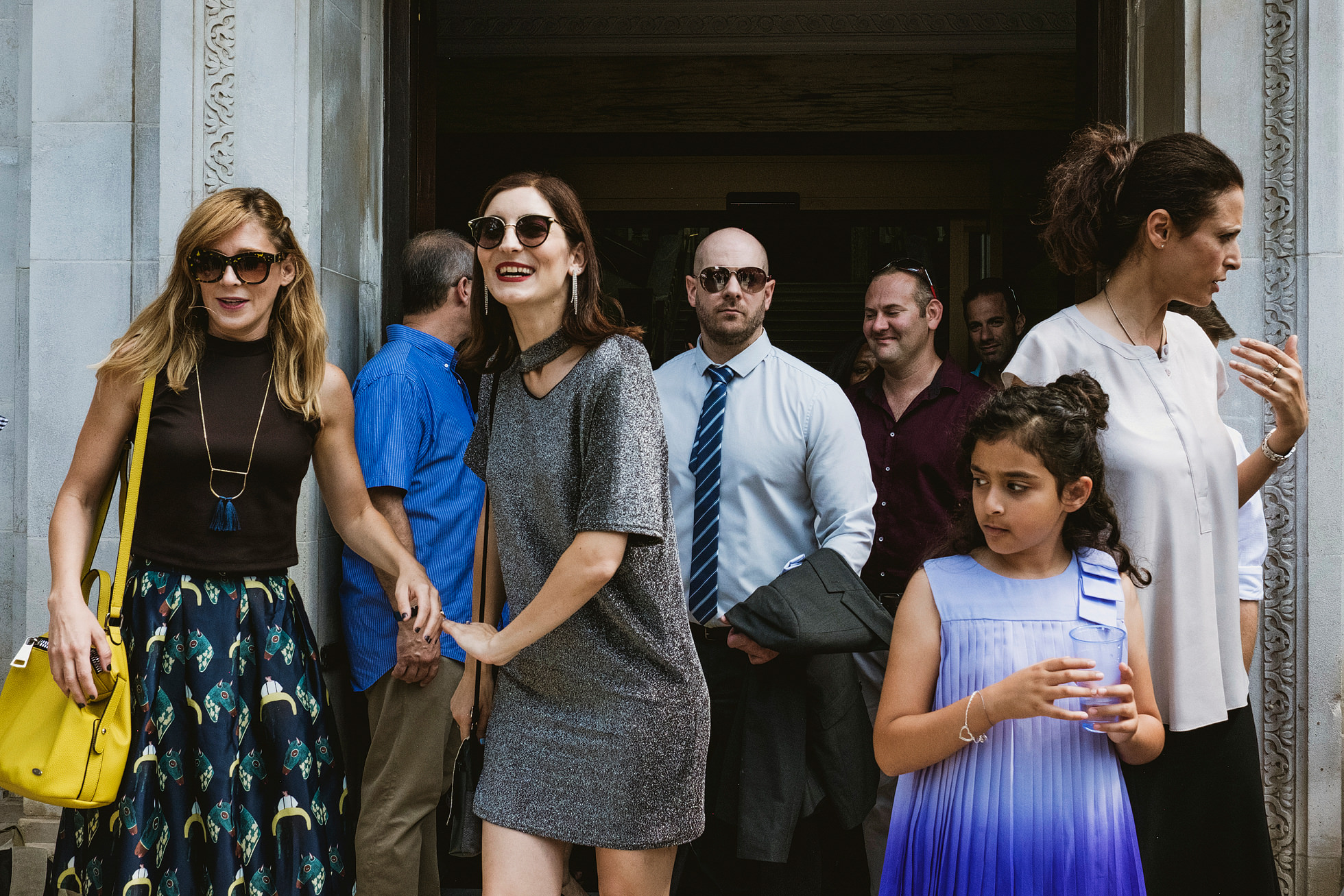 Wedding guests outside Islington Town Hall