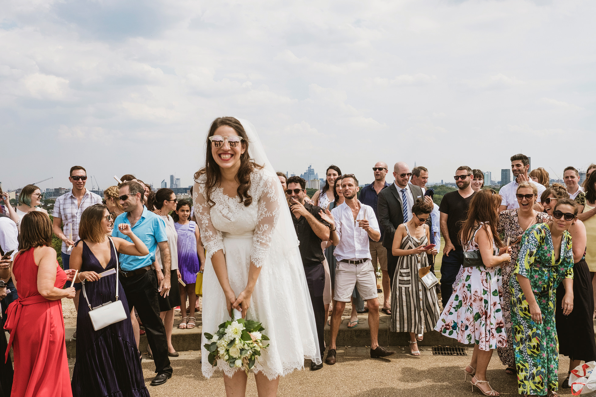 Throwing the bouquet, Primrose Hill, London