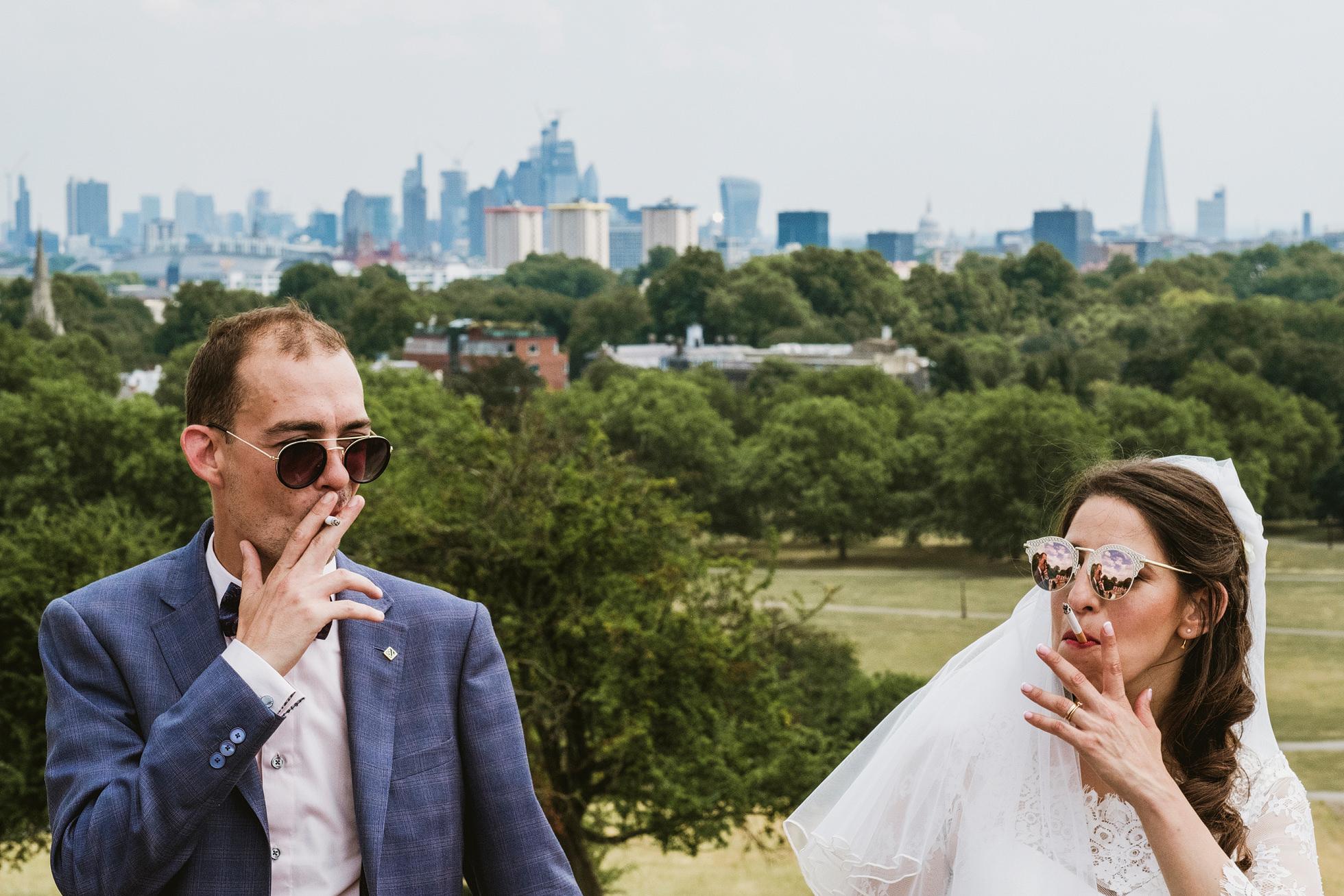 Bride and Groom smoking, Primrose Hill