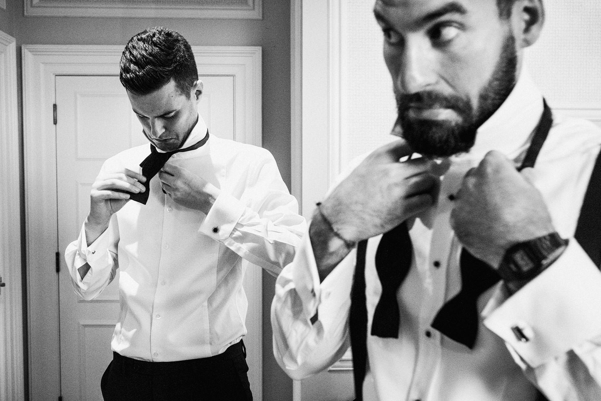 Tying bow ties pre-wedding