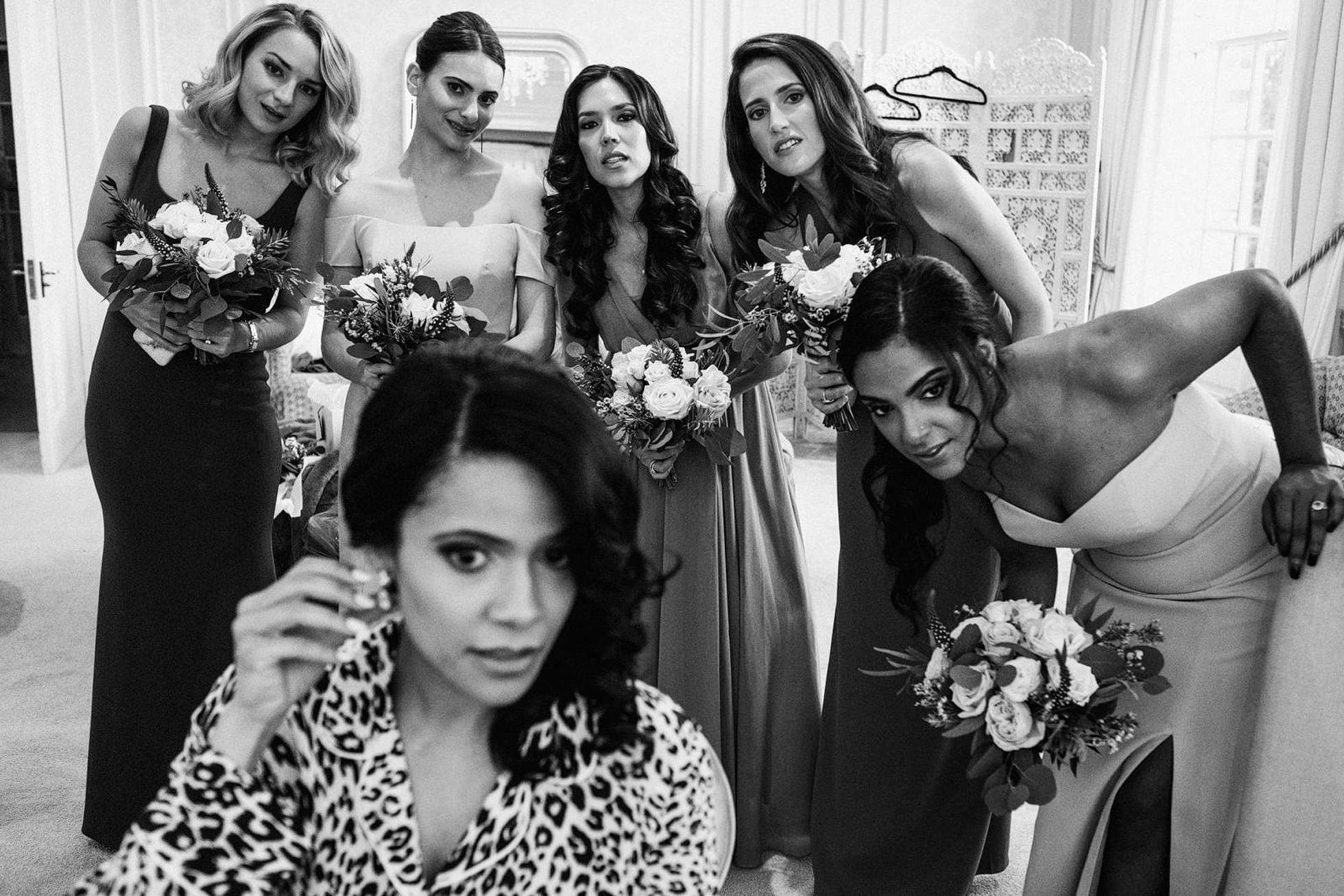 Bridal makeup with Bridesmaids watching