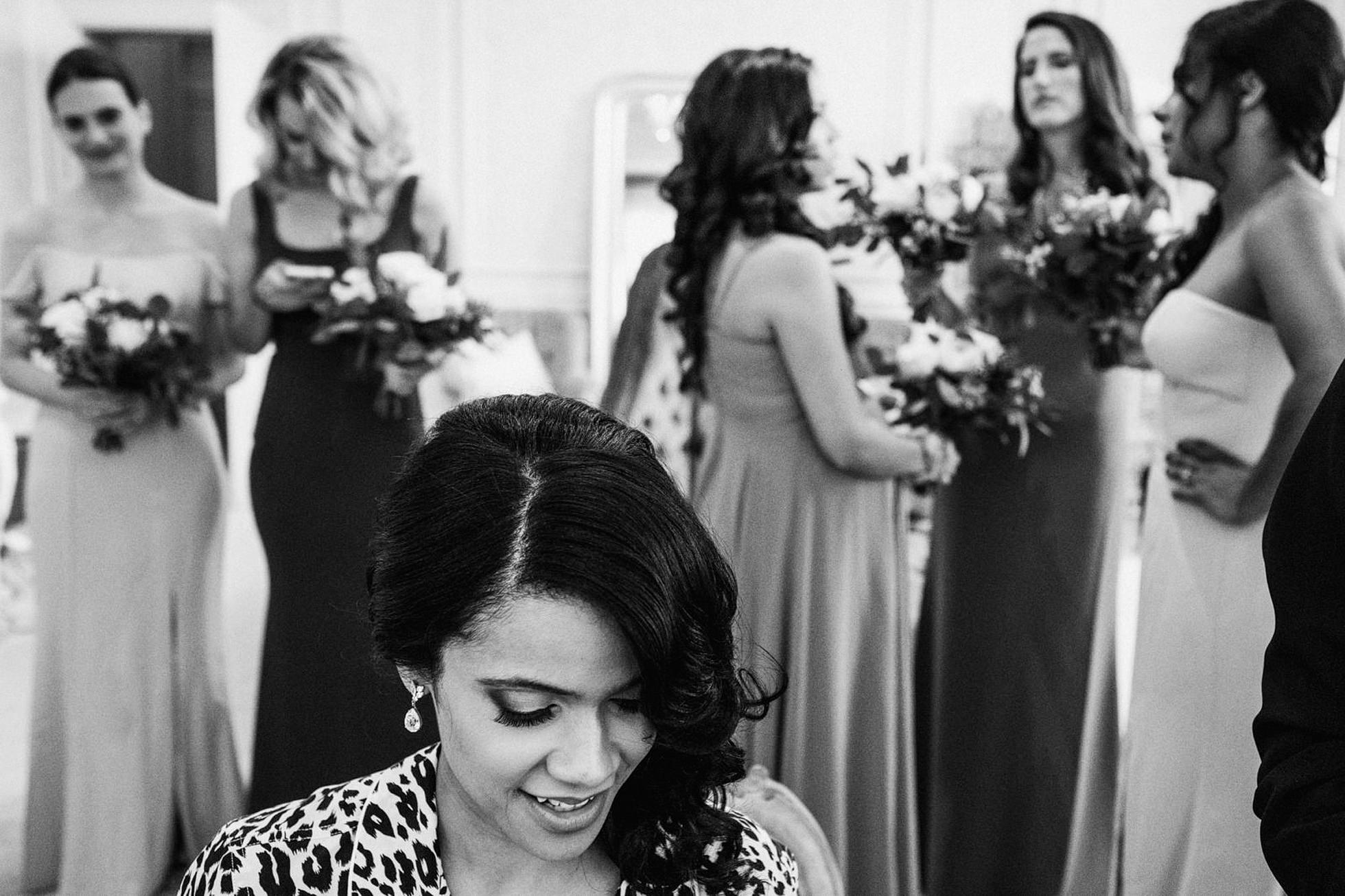 Bridesmaids get ready at Hedsor House