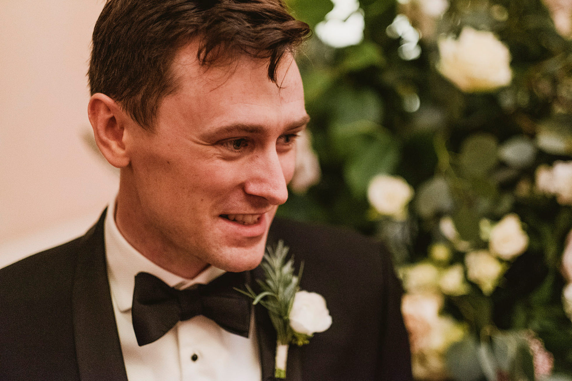emotional groom seeing bride for first time
