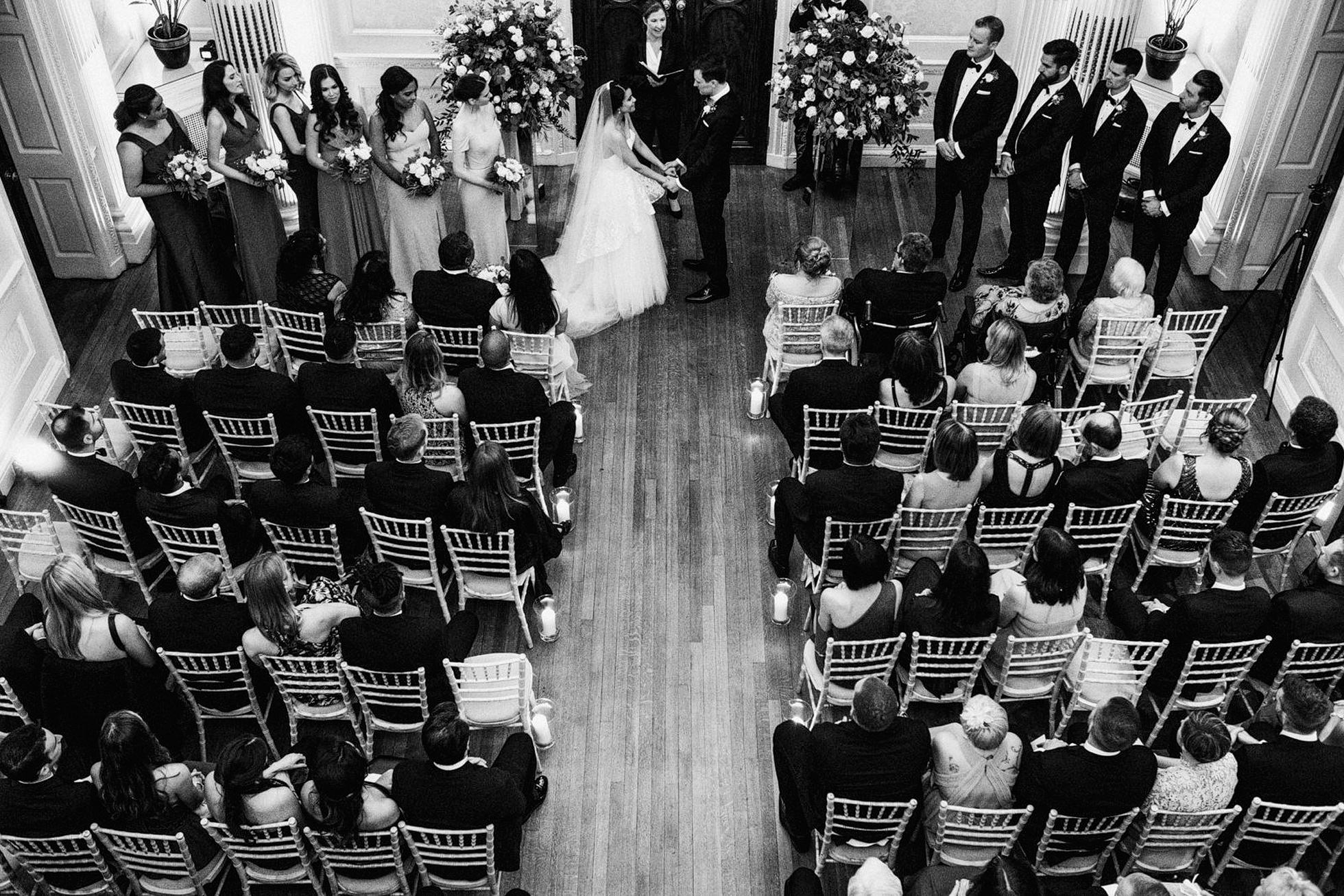 Black and White photograph of wedding ceremony at Hedsor House